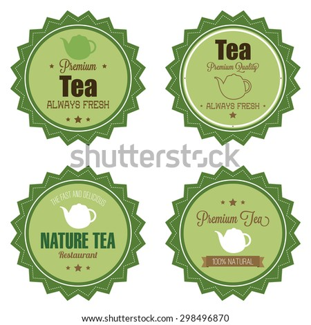 Abstract premium tea labels on a white background - stock vector