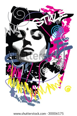 Abstract print for white T-shirt - stock vector