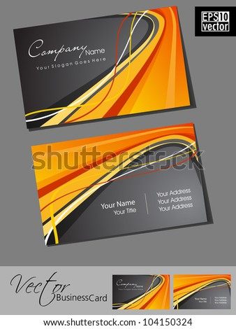 Abstract professional and designer business card template or visiting card set with grey and orange color wave pattern. EPS 10. Vector illustration. - stock vector