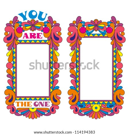 Abstract Psychedelic Border Picture Frame Declaration Stock Vector ...
