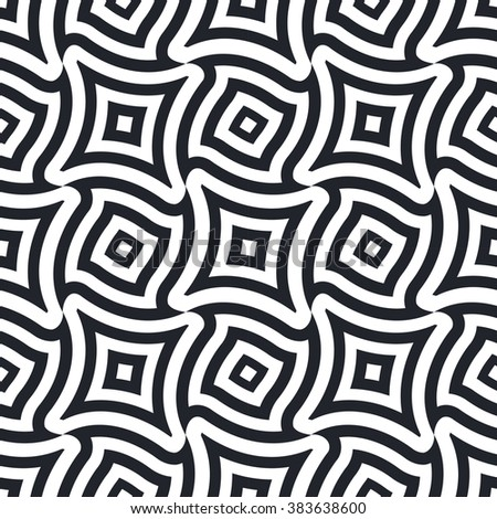 Abstract psychedelic lineart shapes seamless pattern. Black and white - stock vector