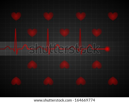 Abstract pulse line over the grid lines and red hearts - stock vector