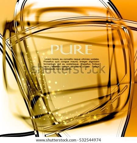 Abstract pure glass vector background. Contrast transparent cool orange frame