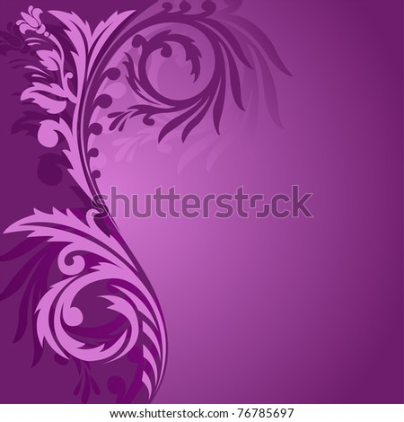 abstract purple background with a beautiful ornament to the left - stock vector
