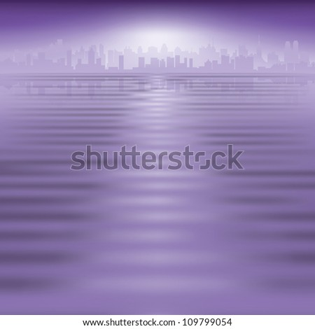 abstract purple background with silhouette of city - stock vector