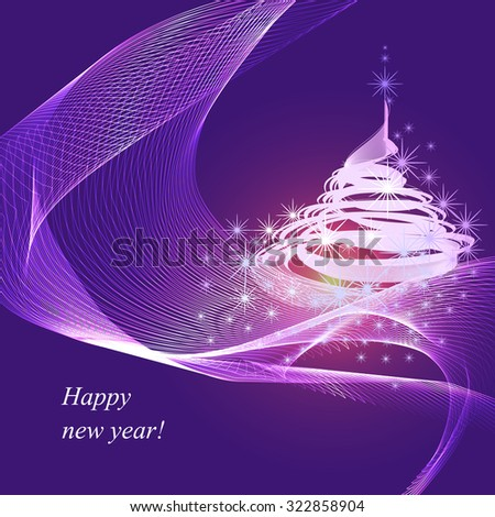Abstract purple Christmas composition - stock vector