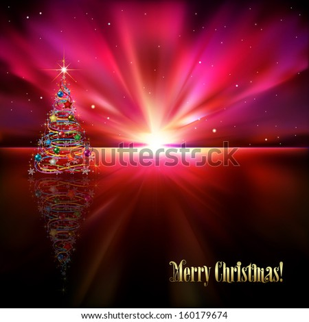 abstract purple greeting with Christmas tree and stars - stock vector