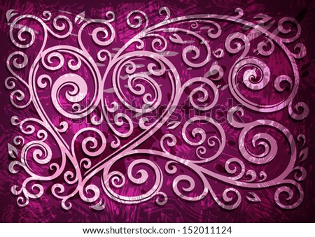 Abstract purple grunge vector floral illustration.