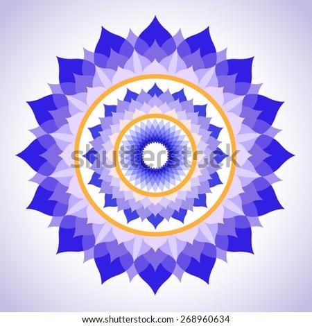 abstract purple painted picture mandala of Sahasrara chakra - stock vector