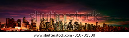 abstract purple sunset background with panorama of vancouver