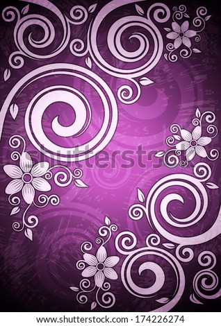 Abstract purple vector floral illustration. - stock vector