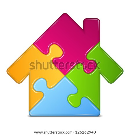 Abstract puzzle house icon, vector eps10 illustration - stock vector