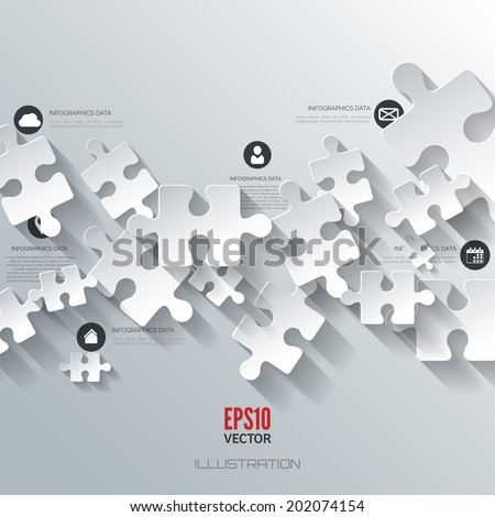 Abstract puzzle infographic. Cloud computing background. - stock vector