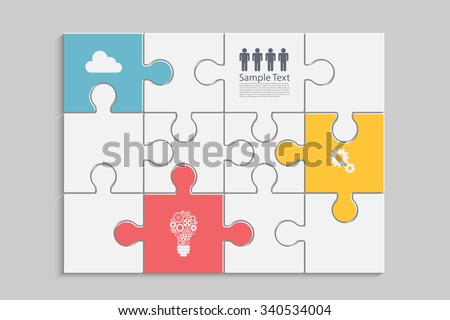 Abstract Puzzle infographic design. Eps10 vector for your design - stock vector