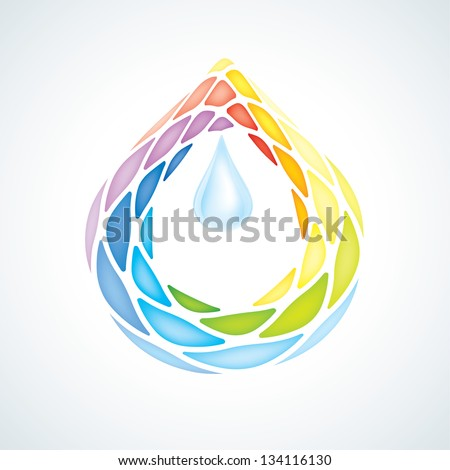 Abstract Puzzle Water Drop Symbol. Icon - stock vector