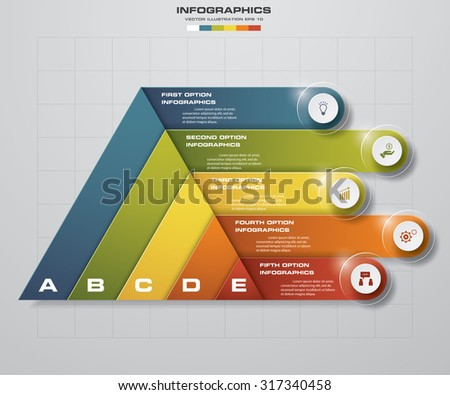 Abstract pyramid shape layout with 5 steps clean number banners template/graphic or website layout. Vector. - stock vector