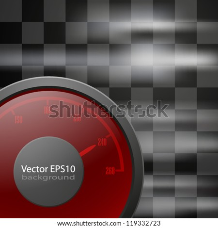 Abstract racing checkered background with speedometer. EPS10 vector.