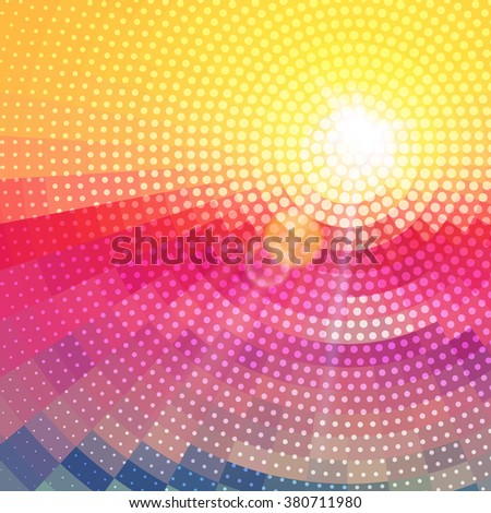 Abstract radial colorful sunset technology background dots. - stock vector