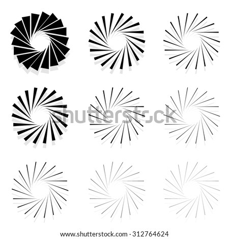 Abstract radial elements, radiating lines. Set of 9 version with different widths. Sunburst, starburst shapes. - stock vector