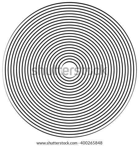 Abstract radiating contour lines. Monochrome element isolated on white. - stock vector