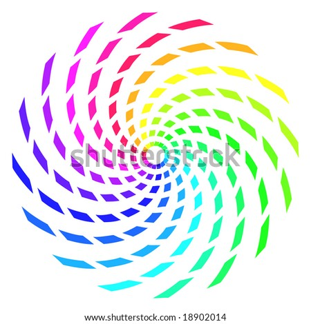 Abstract rainbow color spiral made up of twisted rectangle shapes.