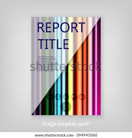 Abstract rainbow colored striped decorative Report cover template design. Business brochure document layout for company presentations. - stock vector