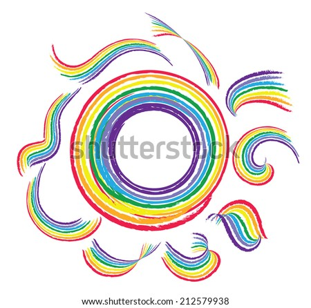 Abstract rainbow patterns - stock vector