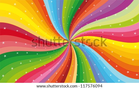 abstract rainbow stripe with stars - stock vector