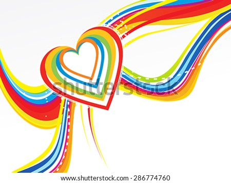 abstract rainbow wave with heart vector illustration - stock vector
