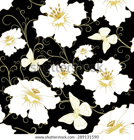 abstract random  floral and butterfly  pattern in vintage style  on black  background, seamless, vector illustration - stock vector