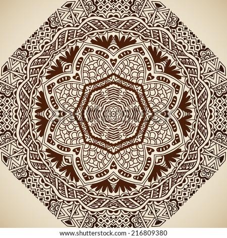 ... rare vintage tribal ethnic geometric henna background - stock vector