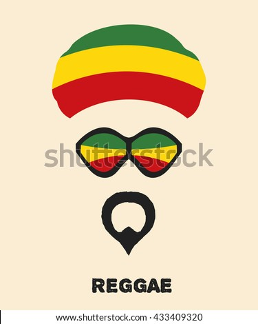 Abstract Rastaman man's face with a beard, glasses and colored beret. Icon reggae musical style. Musical poster. Stock vector - stock vector