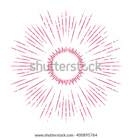 Abstract ray of the sun decoration element. Vector illustration for vintage design. Retro summer sun background. Burst frame and border. Hipster style. Line beam shape template. Hipster art stamp. - stock vector
