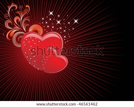 abstract rays background with decorated floral pattern heart