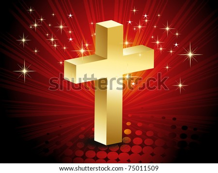 abstract rays, dotted and twinkle star background with isolated golden cross - stock vector