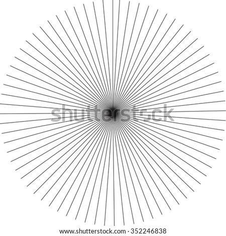 abstract rays pattern, monochrome burst background, vector illustration