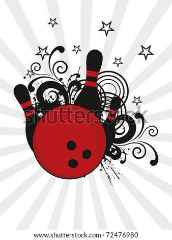 abstract rays, star background with grungy bowling pins - stock vector