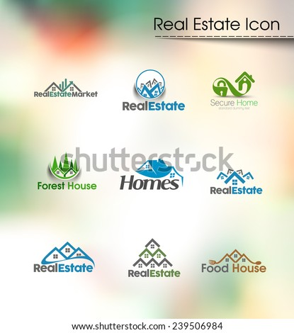 Abstract Real Estate Icons and vector logo  - stock vector
