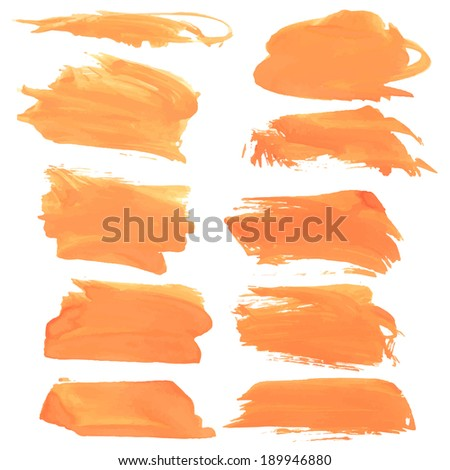Abstract realistic smears orange gouache paint on white paper - stock vector