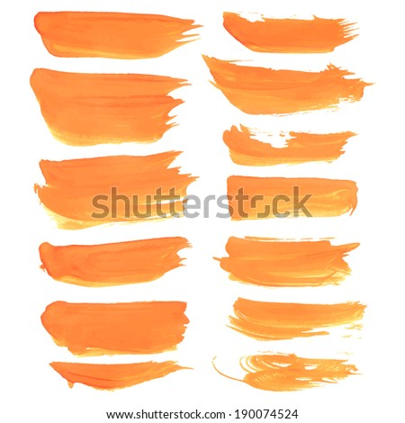 Abstract realistic strokes painted orange liquid paint - stock vector