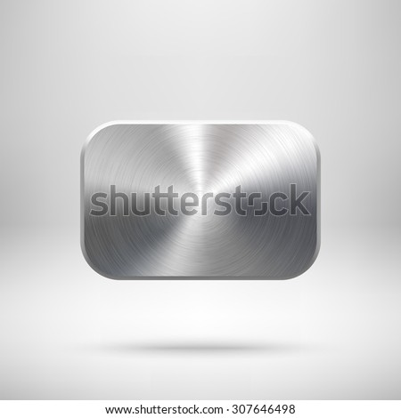 Abstract rectangle badge, blank button template with metal texture (chrome, silver, steel), realistic shadow and light background for user interfaces, UI, applications and apps. Vector illustration. - stock vector