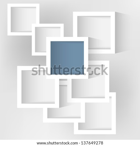 abstract rectangles with shadow - stock vector