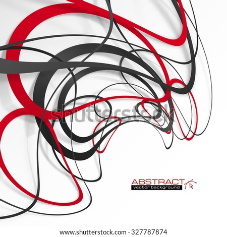 Abstract red and black lines with shadows, modern vector perspective background - stock vector