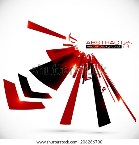 Abstract red and black shining lines vector background - stock vector