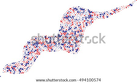 Abstract red and blue color star Trail on white, Design Element