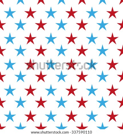Abstract red and blue stars. Seamless vector background