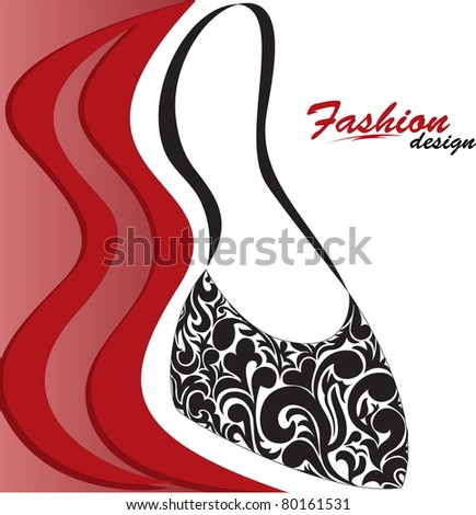 abstract red and white background with a graceful feminine handbag - stock vector