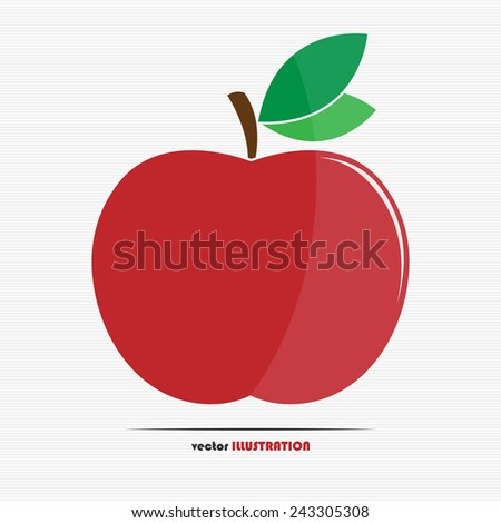 Abstract red apple with green leaves web icon for your design - stock vector