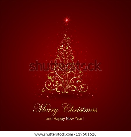 Abstract red background with golden Christmas tree, illustration. - stock vector