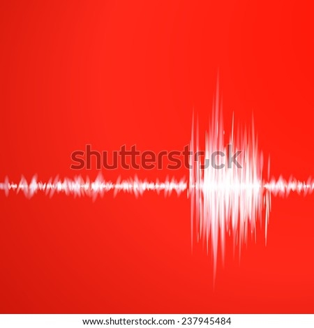 Abstract red background with graph of sound